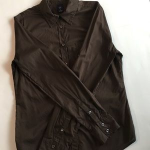 GAP Brown Long Sleeve Button Down Top M